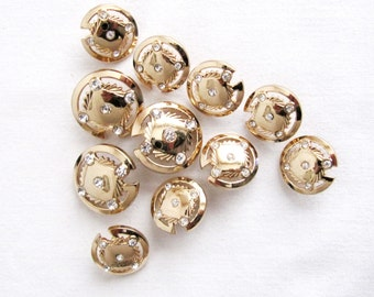 Rhinestone Button / Gold Cover Button/Round Button/Metalic Button/Listing for 11PCS