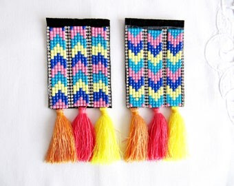 2Pcs. Kilim Epaulet,Rhine stone Epaulet with Tassel,Rainbow Epaulet,Cloth Embellishment,Glass Bead Shoulder Pads
