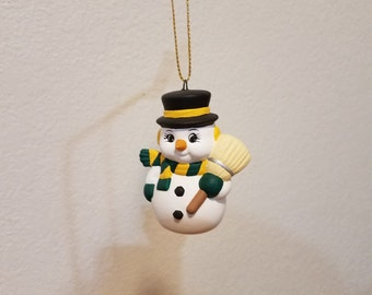 Ceramic Snowman with carrot nose Ornament (#855C) - Holding Broom