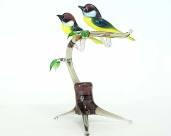 Two Tomtits on the Twig Hand-Blown Art  Composition