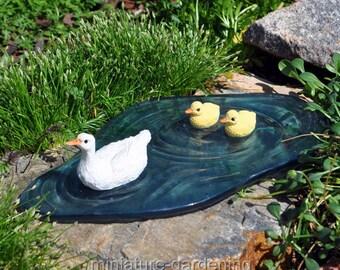 Paddling Ducks on Pond for Miniature Garden, Fairy Garden