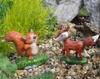Happy Woodland Creatures for Miniature Garden, Fairy Garden