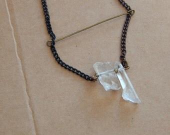 Weird Odd Raw Quartz crystal necklace