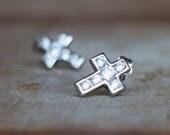 Silver Cross Stud Earrings, CZ Diamond Pave Silver Studs, Sparkly Cross Earrings, Spiritual Everyday Jewellery, Unisex Men