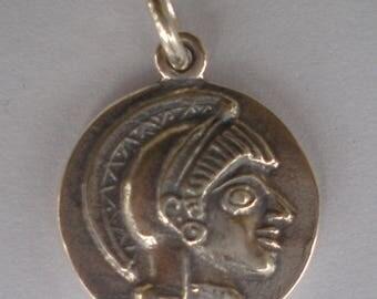 For Sale Goddess Athena & Owl of Wisdom Small Silver Pendant