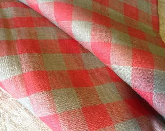 Linen tablecloth. 100 % linen fabric. Red / not colored.