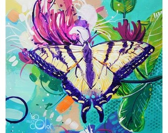 """Tiger Swallowtail Butterfly - Original colorful traditional acrylic painting on paper 8.5""""x11"""""""
