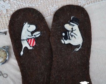 "Felt mittens, gloves ""Moomintroll"""