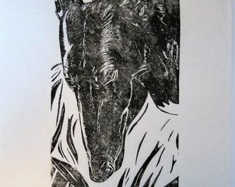Jackie greyhound art block print