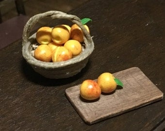 Handmade basket of peaches 1:12 scale