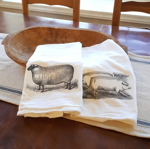 Farmhouse Kitchen Towel Farm Animal Kitchen Towel Flour Sack
