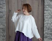 Linen Shirt Plus Size Loose Fit Top With Sleeves Custom Casual Summer Dress Crop Top White Tunic Dress Linen Top Romantic Comfy Clothing