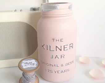 Kilner anniversary edition painted jar with gilding - wedding decor / vase / home decor