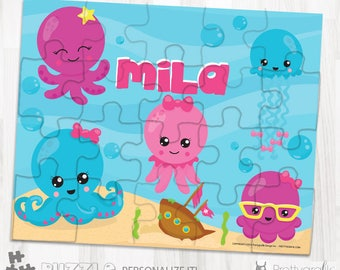 SALE Octopus friends personalized puzzle, 20 pieces puzzle, name puzzle, Personalized name puzzle, Kids Personalized Gift - PU164