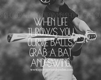 8x10 Grab a Bat and Swing Baseball Print