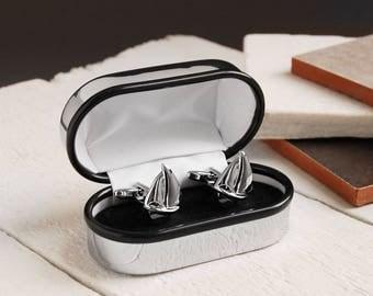 Personalised Chrome Cufflink Box with Sailboat Cufflinks ~ Valentines, Fathers Day, Wedding, Anniversary, Birthday Gift