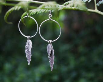 Circle + Leaf Earrings made with Pure Thai Hill Tribe Silver