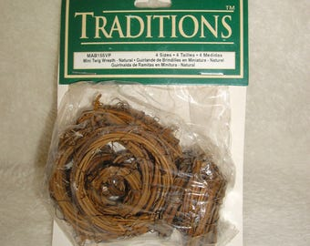Vintage 1995 Traditions Mini Twig Wreath, 16 pieces total, Craft Supply, 4 sizes, Natural Materials, New in Package