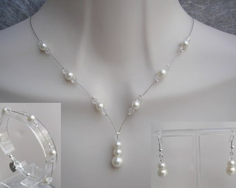Vanessa ~ Dainty Pearl & Clear Crystal Necklace, Bracelet and Earrings Jewellery Set, Bridal Jewelry, Bridesmaids Wedding Necklace Set