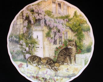 """A Royal Albert Hand Made and Decorated Display Plate Cats and Cottages """"A New Discovery"""" 8.35 inches Excellent"""