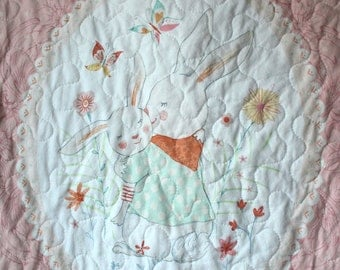 Bunny Baby Quilt- Rabbit Baby Quilt-Peach Baby Bedding- Bunny Nursery Bedding-Baby Quilt Homemade-Mint Peach Quilt-Girl Bunny Quilt