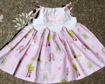 Toddler Girls Princess Dress- Monogrammed Dress- Pink Princess- Scalloped Edge Dress- Birthday Dress- Size 2t, 3t, 4t, 5t, 6, 7, 8