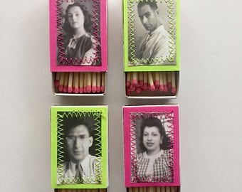 Set of Four Decorative Matches Neon Matchboxes Retro Matches Old Photo Matches Candle Matches
