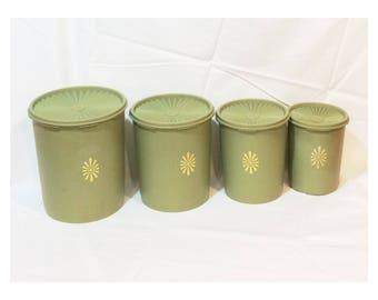Vintage Olive Green Tupperware Canister Set