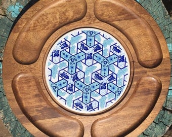 Vintage teak and tile cheese cutting board platter Gail Craft 1970's