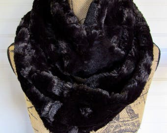 Black Faux Fur Infinity Scarf,  Long Circle Scarf, Fashion Scarf