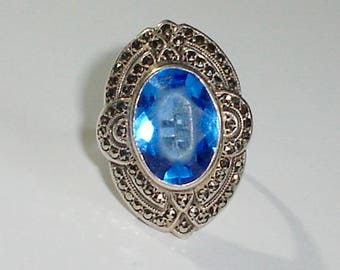 Vintage 925 Sterling Silver Art Deco Ladies Ring w/Large Blue Paste Stone & Marcasite, Size 5