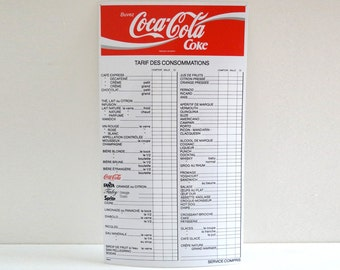 French Vintage COCA COLA Advertising Sign - 1970s Bar Price List Board