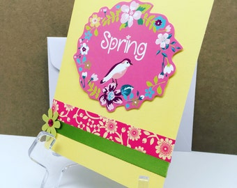 Spring Card, Friendship Card, Bird, Flowers, Seasonal Card, Card for Friend, Thinking of You Card, Blank Note Card