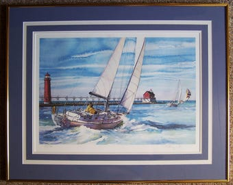 """Grand Haven MI - """"Big Red"""" Lighthouse, Sailboat and Channel - Kathleen Chaney Fritz - S/N  Limited Edition Print - Titled """"Day Break"""" - 1988"""