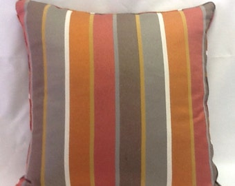 SALE Twill Stripes Pillow Cover - SALE - 20 Inch - Red Gray Gold Rust -  -Decorative Pillow - Toss Pillow - Accent Pillow