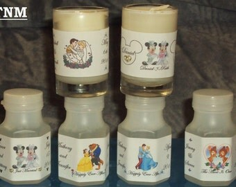 30 Custom Made Disney Wedding/ Anniversary/Engagement Bubbles Favors Labels@Just Peel & Stick