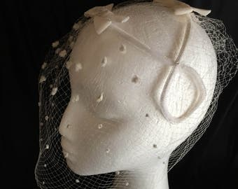 1950s vintage velvet bows and spotted veil headpiece ideal for bride or the races