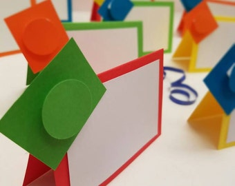 Building Block place cards. Building block food tents. Set of 10. Kids party supplies