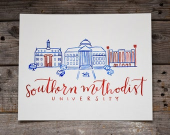 Southern Methodist University, Handmade Watercolor Campus Painting, Dallas Painting, SMU Decor, Mustang Decor, College Graduation Gift