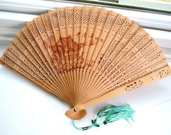 Sandalwood Fan Delicately Carved  Japanese Paintings on Both Sides with Aqua Tassels and Glass Topped Cardboard Box Collectible Memorabilia