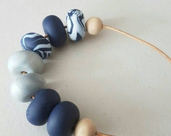 Polymer clay bead necklace/ Navy blue and silver clay beaded necklace / polymer clay/ clay jewellery/ clay jewelry/ beaded necklace/