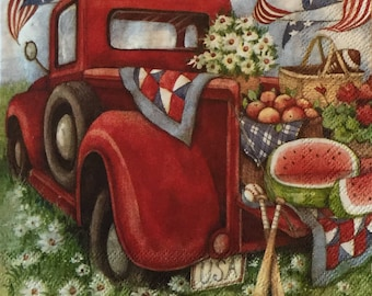 """3 Decoupage Beverage Napkin 10"""" x 10"""" Red Pickup Truck 4th of July Summer Picnic"""
