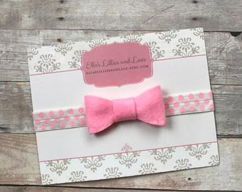 Pink Baby Headband, Baby Girl Bow Headband, Newborn Headband, Pink Polka Dot Headband, Hair bow Headband, hair accessorie, Baby shower gift