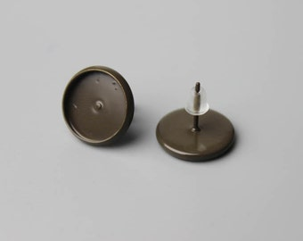 20pcs Brown color paint  12mm Bezel Stud earrings Bases Blanks - color 12mm Brown paint Earwires Setting trays