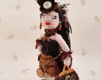 "REDUCED! Steampunk girl ""Emilia Underwood"" unique crochet!"