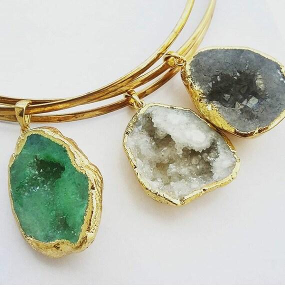 Drussy chokers crystal necklace brass - trendy - jewellery - circle - geometric - statement piece