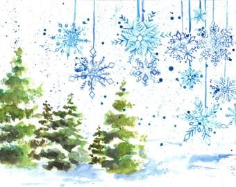 Snowflakes Watercolor Holiday Card - 5 Pack