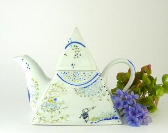 Porcelain Teapot,Pyramid Shape Teapot,Ceramic Teapot,Blue Tea Maker,Théière en Porcelaine