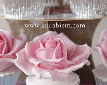 Sugar Rose for Cupcake and Cake Topper