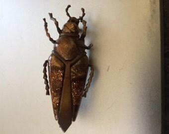 Victorian Goldstone and Metal Beetle Brooch